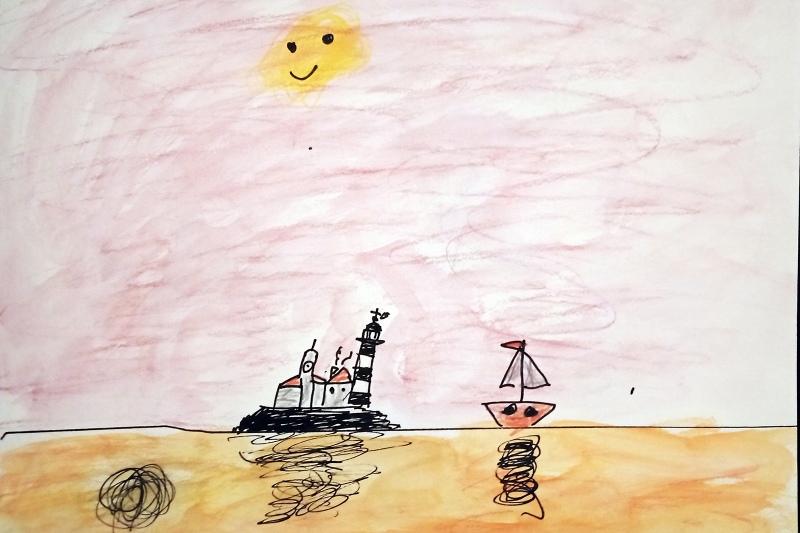 Dessin enfant mer Paul Autexier - Aquarelle